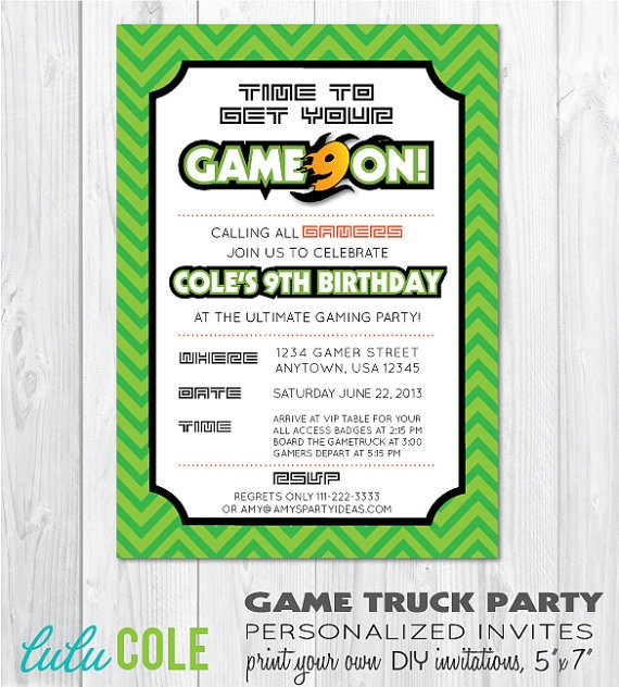 GAME TRUCK Gamer Personalized Birthday Party By Lulucole