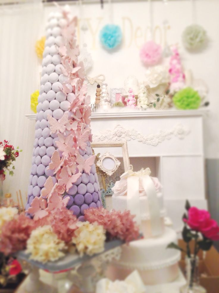 macaron tower with butterflies for wedding マカロンタワー♡ウェディング♡70cmの特大サイズby MY Decor pink x lavender