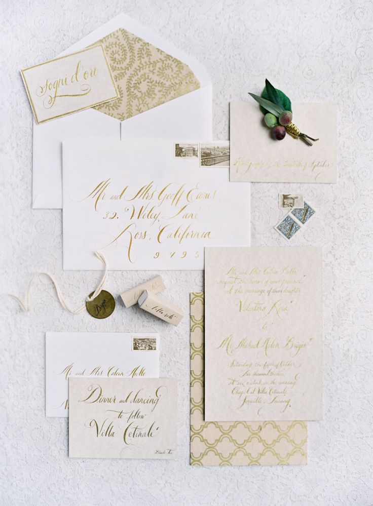 spanish wedding invitations uk%0A Gold wedding invitation suite   Photography  Jose Villa Photography