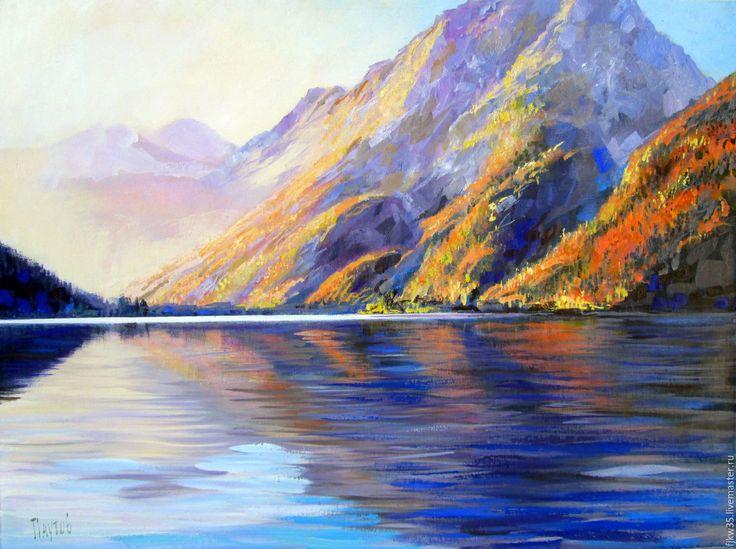 Купить Осень в горах - горы, озеро, осенние краски, картина для интерьера, картина в подарок