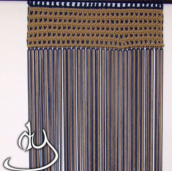Macrame Curtain or Wall Hanging (Dark beige multi and Dark Deep Blue Cords)