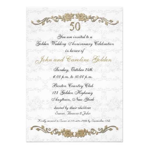 50th anniversary party invitations templates | 50th Anniversary Rose Border White Invitation from Zazzle.com