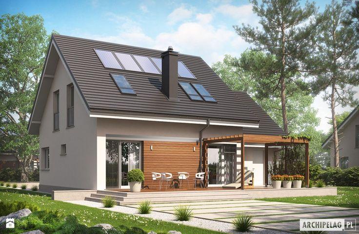 Projekt domu Leosia G1 ENERGO - widok od ogrodu - zdjęcie od Pracownia Projektowa ARCHIPELAG - Domy - Styl Minimalistyczny - Pracownia Projektowa ARCHIPELAG