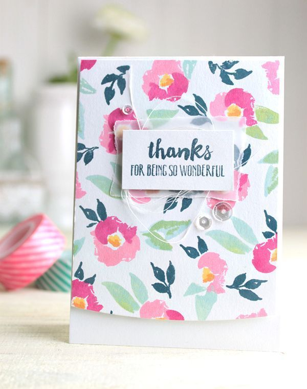 Thanks card by Dawn Woleslagle for Wplus9 featuring the Watercolored Anemones  and Happy Mail stamp sets.