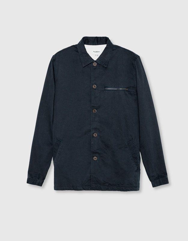Pull&Bear - man - new - clothing - twill overshirt - navy - 09470531-I2016