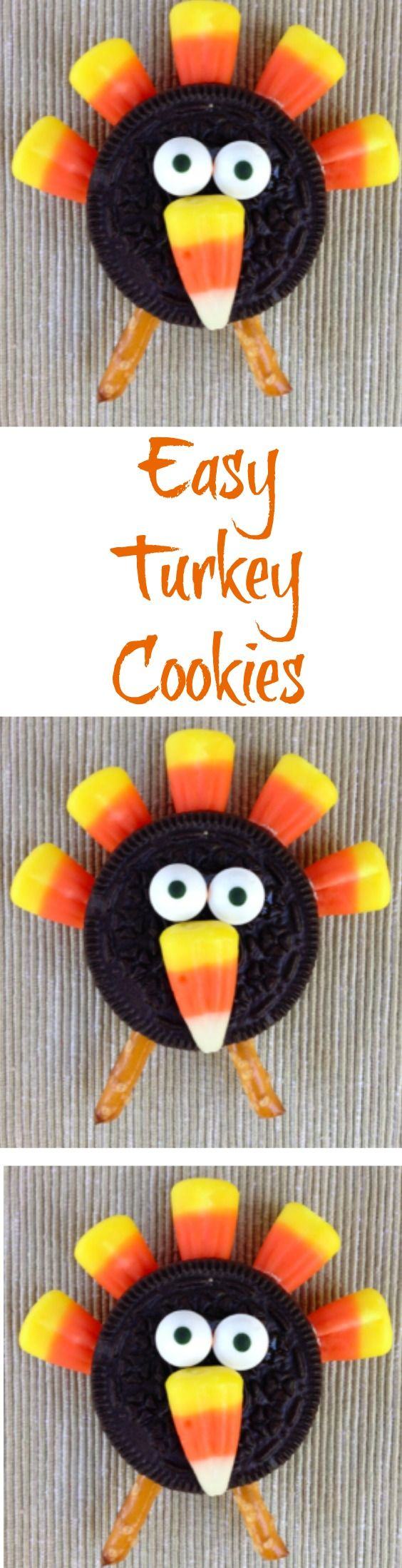 Check out these super cute Easy Candy Corn Turkey Cookies! They are so easy to make and your kids will go crazy for them.