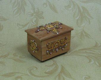Dollhouse Miniature Renaissance Style Cedar Chest with Golds