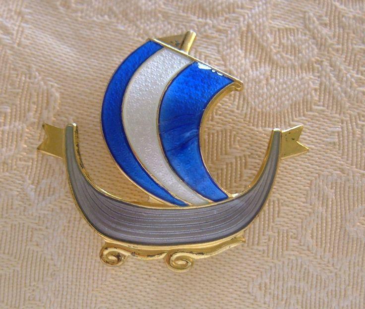 Vtg Askel Holmsen Norway Sterling Silver Enamel Viking SHIP Pin Brooch Gold Clad | eBay