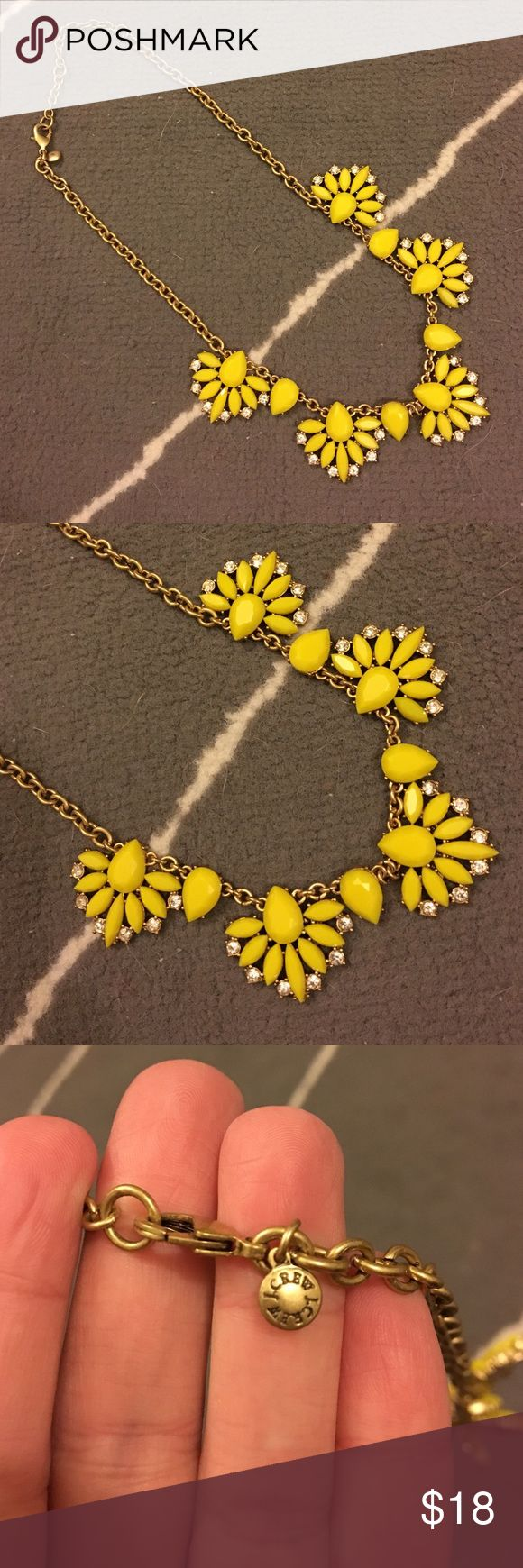 """J.Crew Yellow Statement Necklace Barely worn, purchased last year! Chain is a bronze color with J.Crew charm at the clasp. Five yellow """"fans"""" with teardrop stones between them and crystals at the bottom. Perfect punch of color for spring! J. Crew Jewelry Necklaces"""