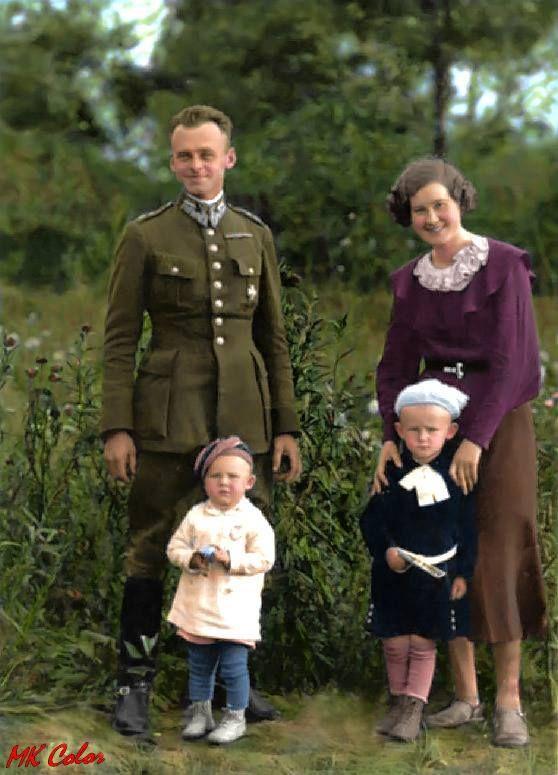 Witold Pilecki z żoną i dziećmi, Ostrów Mazowiecka, 1934 r.