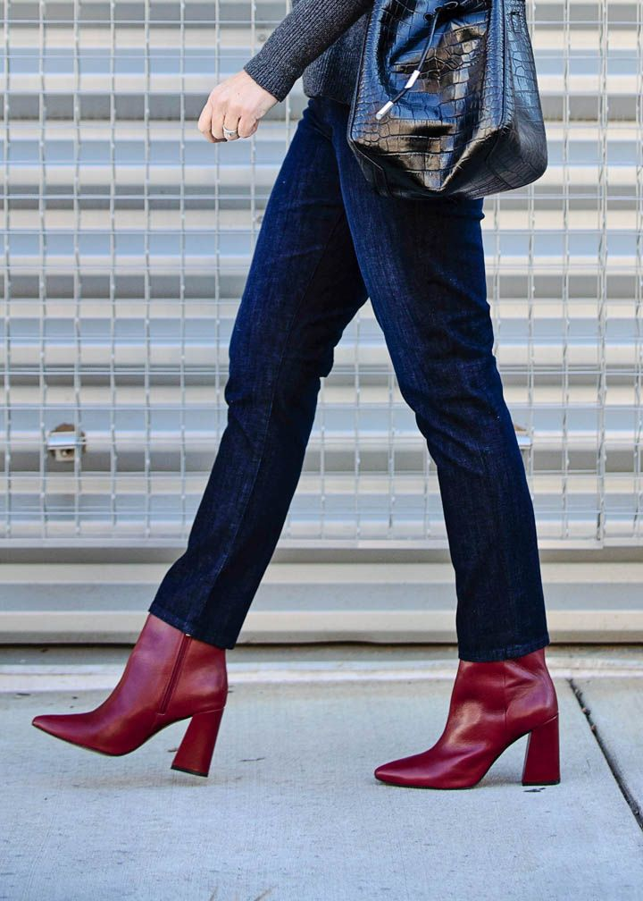 5ff37dc4a890 AG Prima Ankle Straight Jeans straight ankle jeans with Vince Camuto  Thelmin Booties