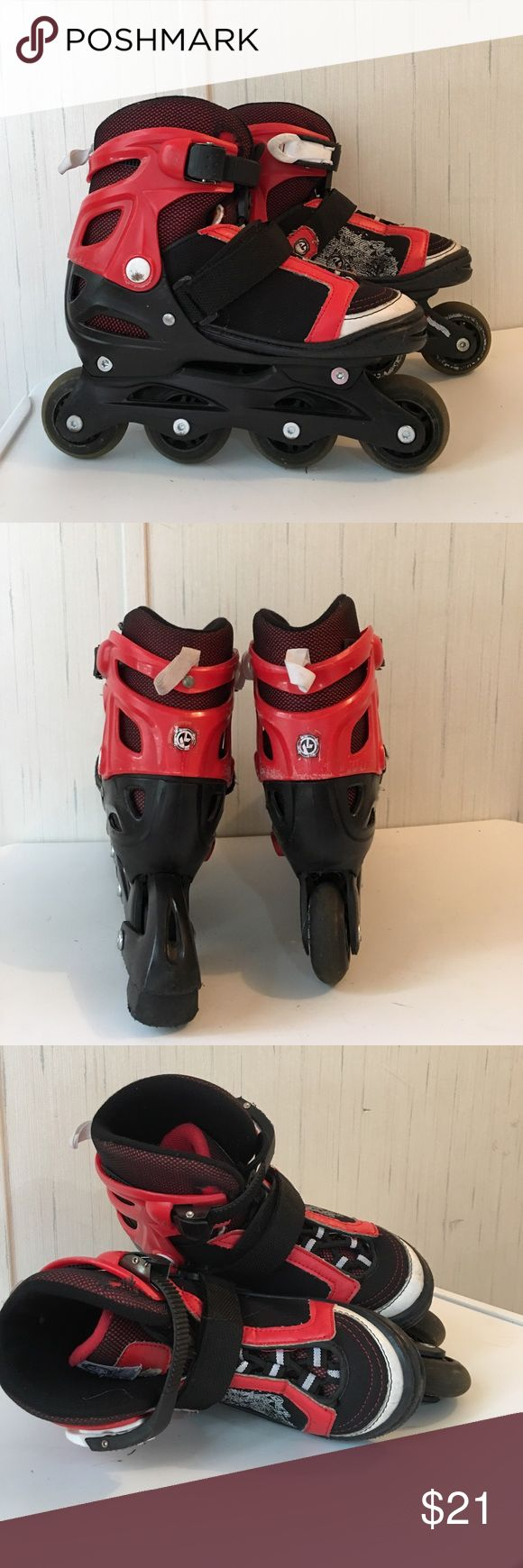 Kryptonite boys Boom inline skates Very nice roller blades with ABEC bearings, lace, Velcro close at top of skate, well padded, molded plastic at ankle with adjustable clamp close. Adjustable size 1-4 no defects Bravo Sports Other