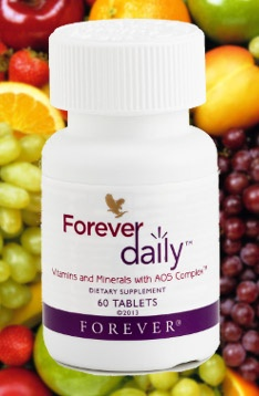 Forever Daily - with AOS Complex™ provides the most advanced nutrient delivery system available. Our proprietary new formula contains 55 perfectly balanced, aloe-coated nutrients, including recommended daily allowances of essential vitamins and minerals.