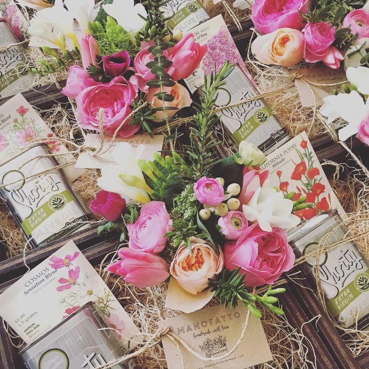 Manofatto Herbs + Blooms Giftbox, Extra Virgin Olive Oil, Gardening Seeds. #tulips #ranunculus #rosemary #herbs #gardenrose #freesia #eucalyptus #denverflowers #gifts #giftboxes #denver #blooms #handmade