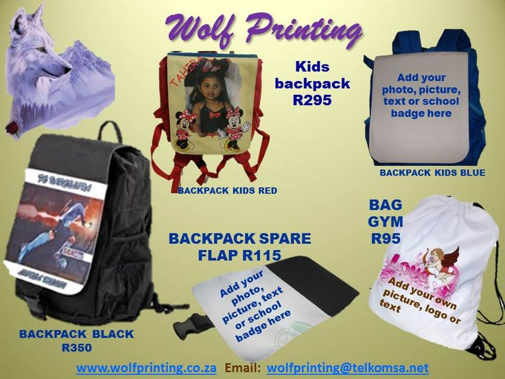 Personalised gym bags and back packs for junior and senior