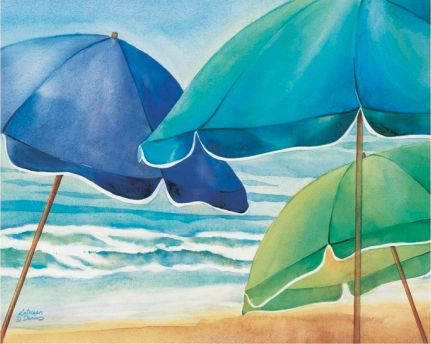 Beach Umbrellas Painting on Canvas