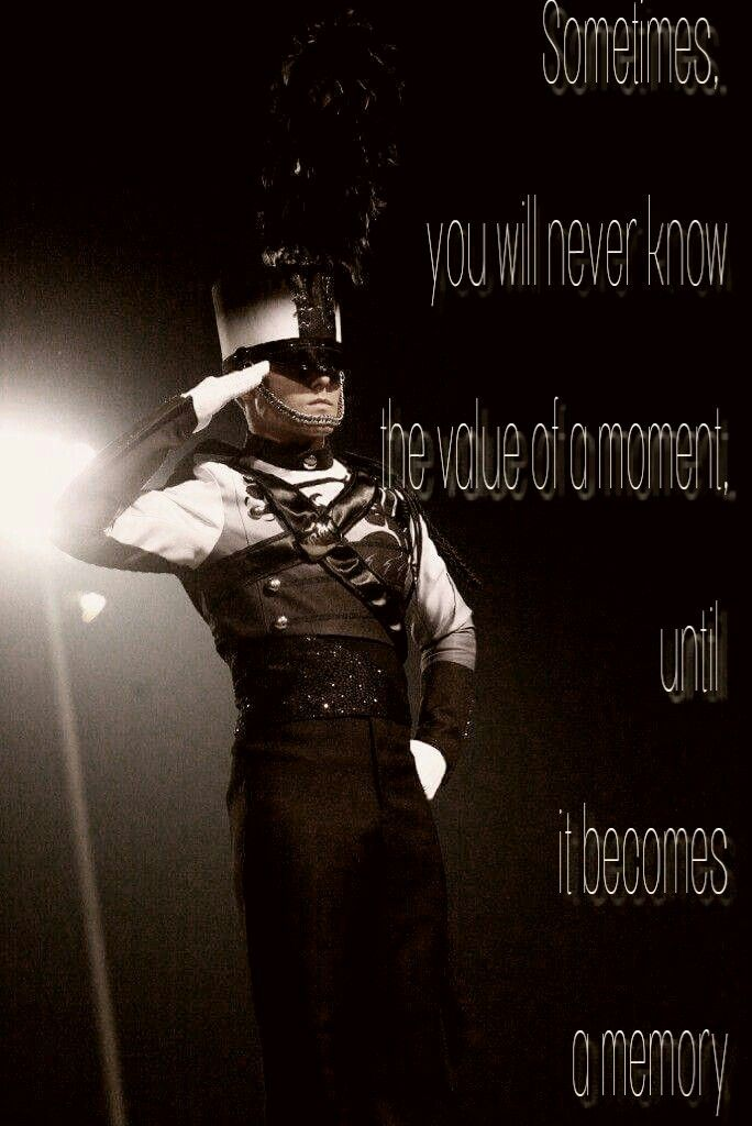 Marcing Band drum major with a quote