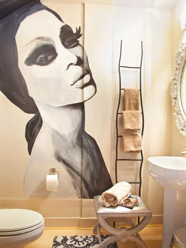 dpeclectic bathrooms from lisa sherry on hgtv i love the ladder towel rack