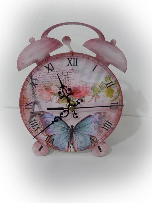 """Επιτραπέζιο ρολόι """"Παρίσι"""", χειροποίητο με την τεχνική Decoupage!"""