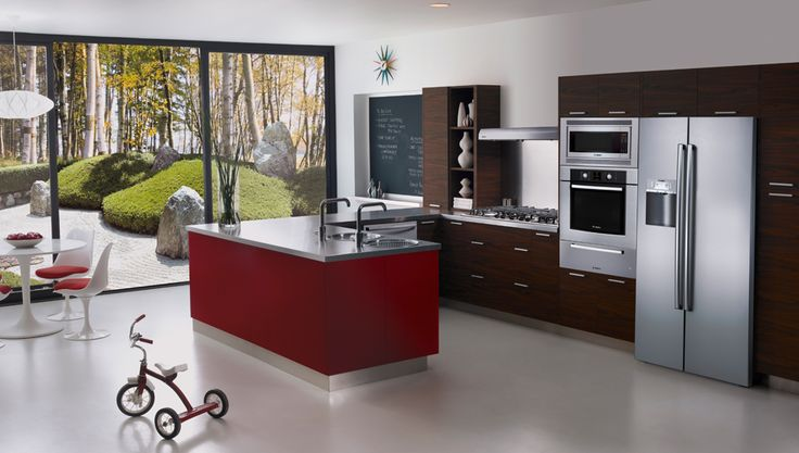Microwave, oven, warming drawer all in one stack with range to the side…..The Mid-Century ... - Modele De Cuisine
