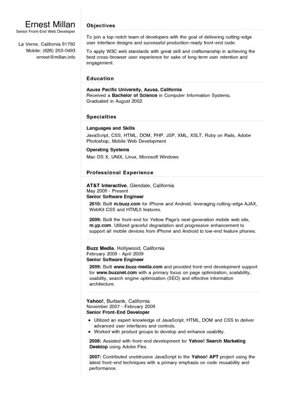 Front End Developer Resume Examples Best Resume Examples