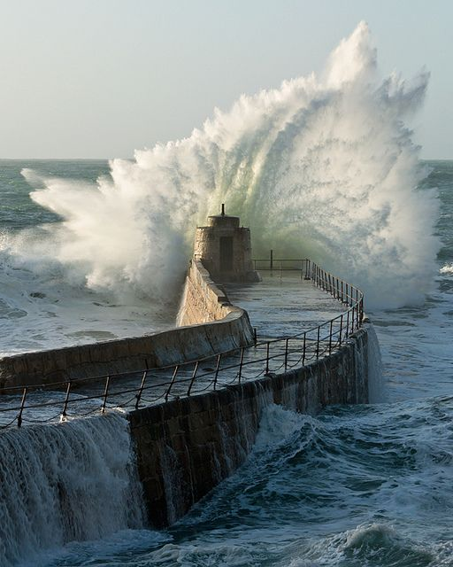 """The harbour wall at Portreath takes another battering."" England."
