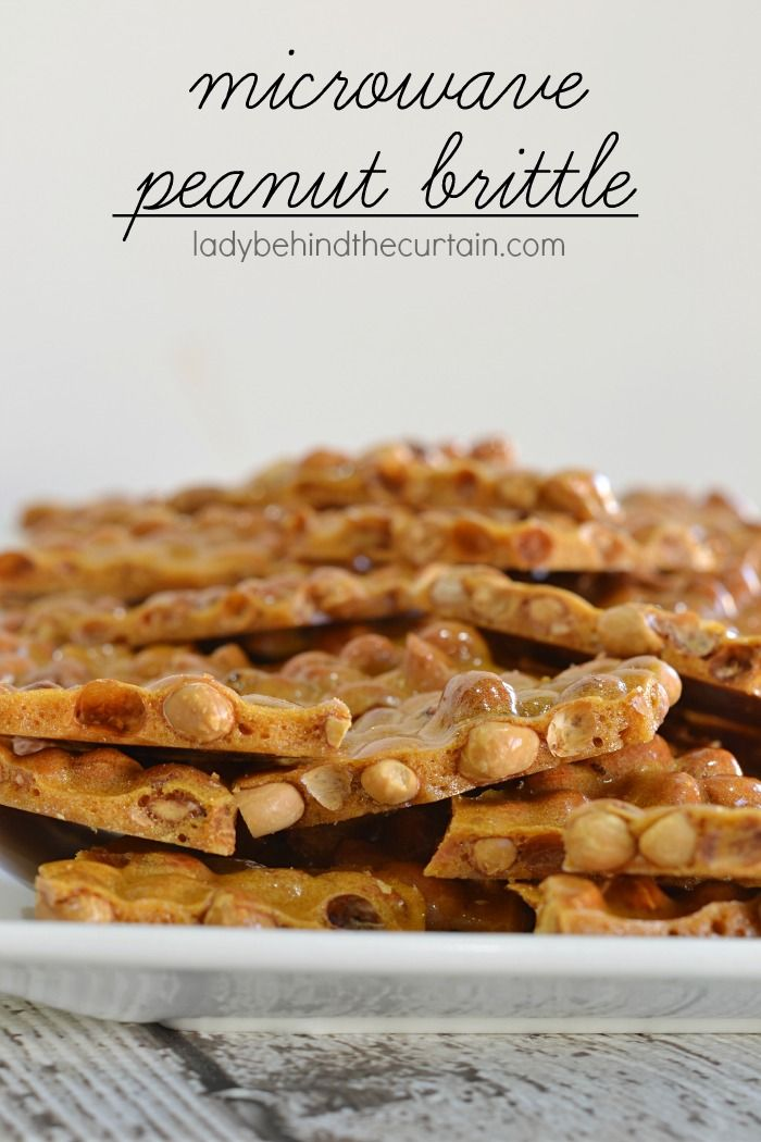 Microwave Peanut Brittle | This brittle tastes exactly like old fashioned peanut brittle.  No candy thermometer…. and is ready to pour in less than 10 minutes!