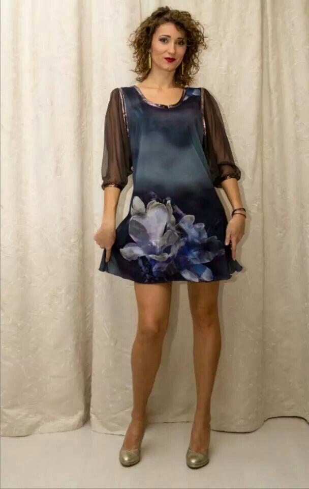 Rochie tricot de bumbac cu imprimeu 3D, maneci de voal, insertii din lycra peliculizat TD1203  Marime S-M  Pret 185 lei