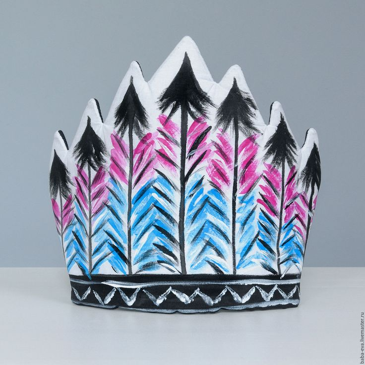 Купить Головной убор 'Индеец' - розово-голубой - рисунок, ручная работа, ручная авторская работа