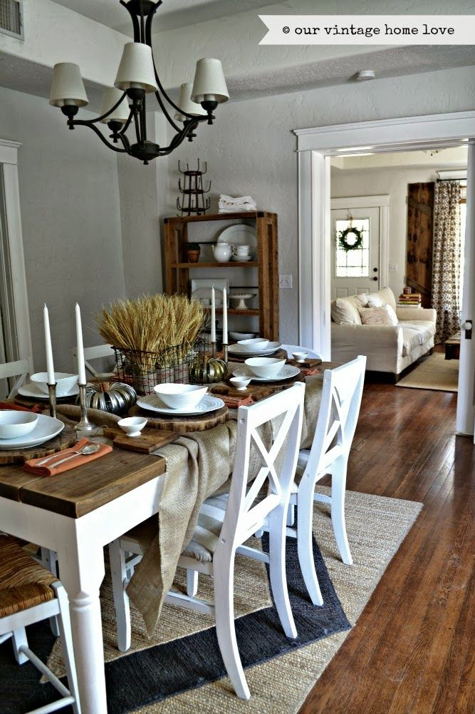 Love the basket in middle of table!!  our vintage home love: Fall Dining Room