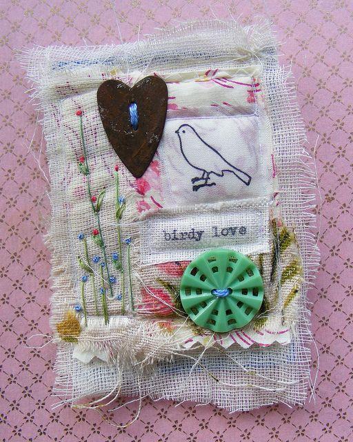 textile collage brooch by hens teeth, via Flickr