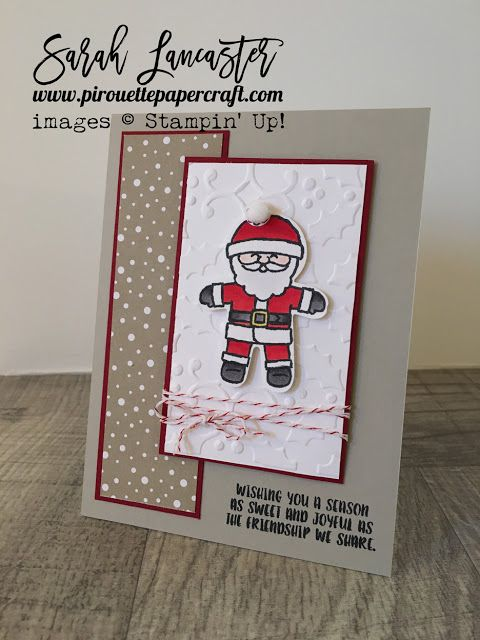 Cookie Cutter Christmas meets Candy Cane Lane DSP Stampin' Up! products to create a cute Christmas card - Santa's hat pompom is ribbon by Stampin' Up! | Sarah Lancaster - pirouette paper craft #stampinup
