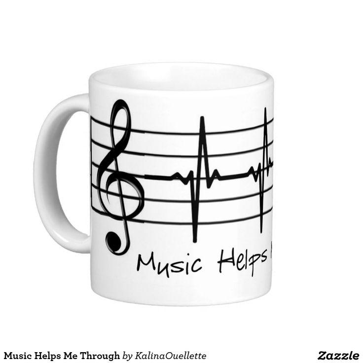Music Helps Me Through Basic White Mug