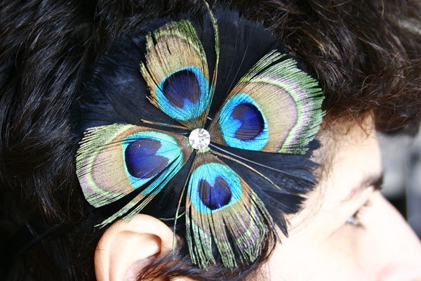Peacock Feather Flower Stretch Headband Clip Hair Fascinator For Weddings Events Parties Bridal Wear Bridesmaids Gift Sweet 16 Prom. $22.95, via Etsy.