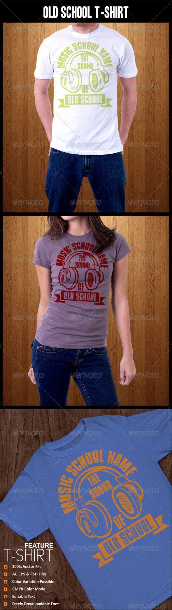 Old #School #T-Shirt - Grunge #Designs Download here: https://graphicriver.net/item/old-school-tshirt/4448131?ref=alena994