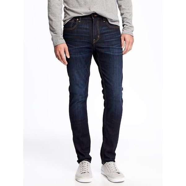 Old Navy Mens Built In Flex Super Skinny Jeans ($38) ❤ liked on Polyvore featuring men's fashion, men's clothing, men's jeans, blue, mens stretch skinny jeans, mens denim jeans, mens destroyed jeans, mens flap pocket jeans and mens torn jeans