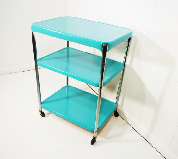 Aqua Vintage Upcycled Cosco Metal Kitchen Cart Movable 50s