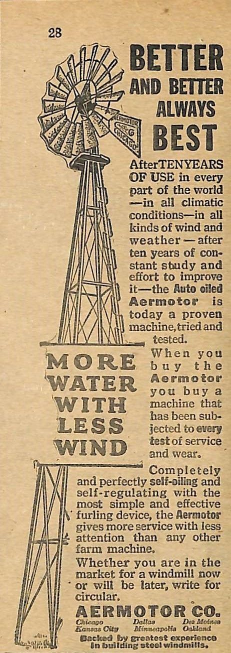 1926 AERMOTOR WINDMILL AD ADVERTISEMENT - MORE WATER WITH LESS WIND | eBay