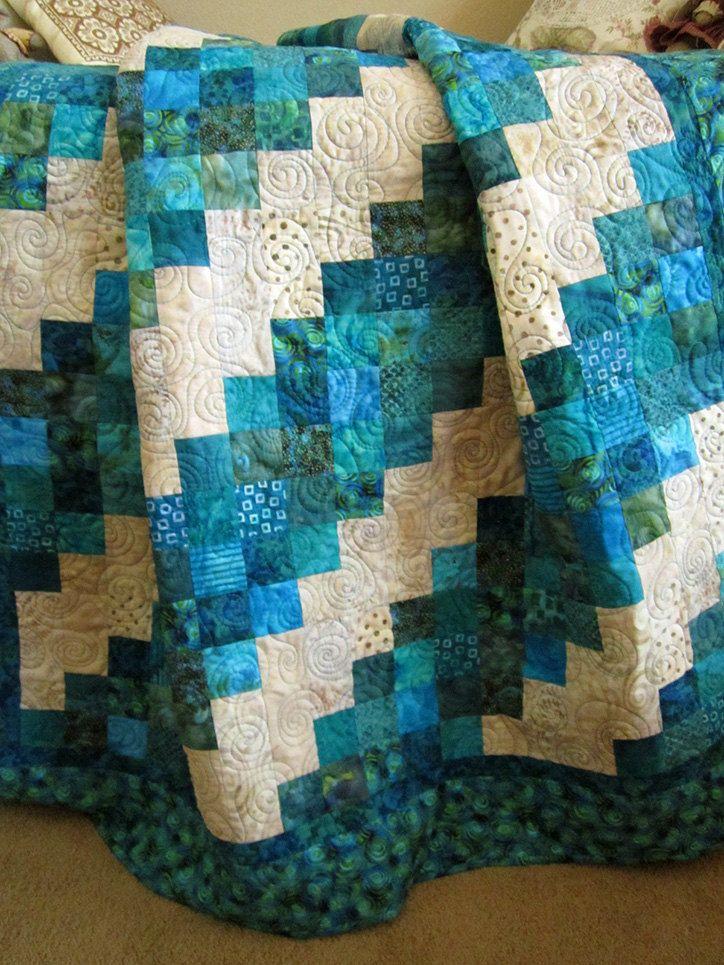 Handmade Patchwork Quilt,  Aqua Turquoise Teal Homemade Quilt on The CraftStar @TheCraftStar #uniquegifts $192