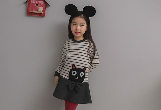 Korea children's No.1 Shopping Mall. EASY & LOVELY STYLE [COOKIE HOUSE] Surprise Cat One Piece / Size : 5-13 / Price : 31.55 USD #dailylook #dailyfashion #fashionitem  #kids #kidsfashion #top #longT #TEE #skirt #dress #onepiece #stripe #COOKIEHOUSE #OOTD http://en.cookiehouse.kr/ http://cn.cookiehouse.kr/ http://jp.cookiehouse.kr/