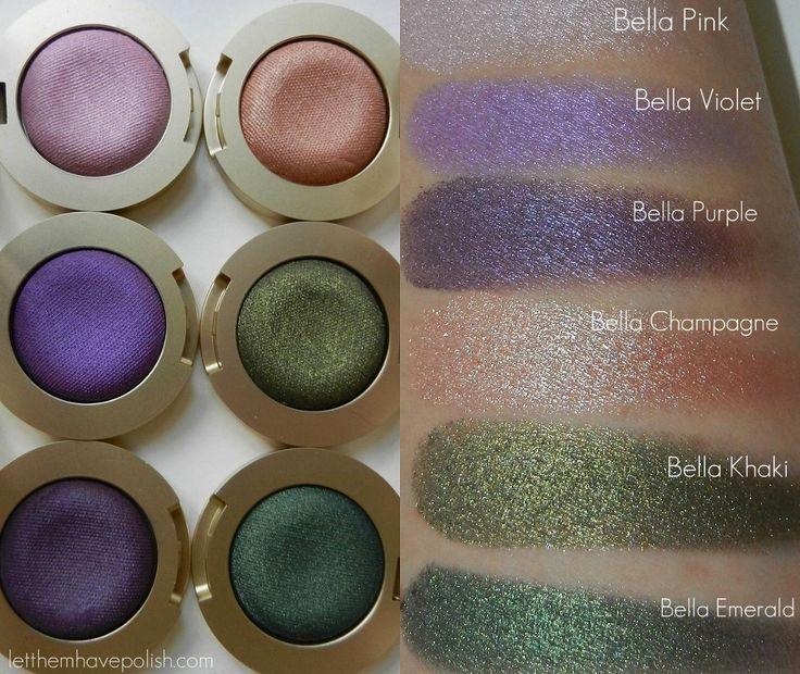 Milani Bella Eyes Gel Powder Eye Shadows - pink, violet, purple, champagne, khaki, emerald