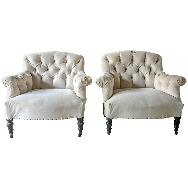 for sale on pair of fabulous antique french tufted salon chairs upholstered in cement velvet leaving the backs and side framework exposed to show