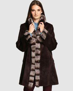 Abrigo reversible de mujer El Corte Inglés en rex en color marrón