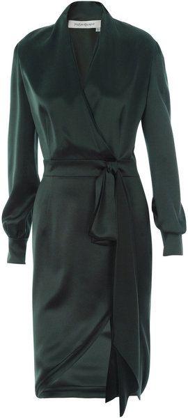 Dark green silk YSL dress <3