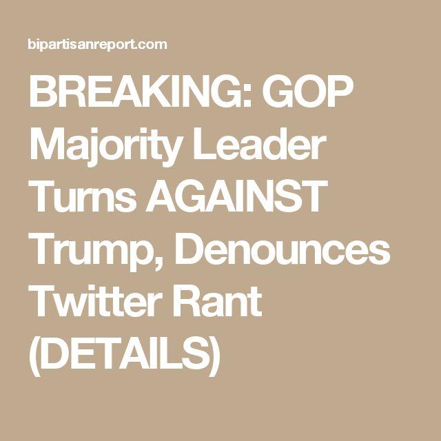 BREAKING: GOP Majority Leader Turns AGAINST Trump, Denounces Twitter Rant (DETAILS)