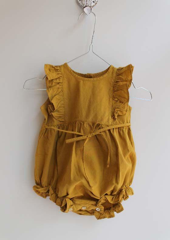 Yellow ruffled kids romper | kids style