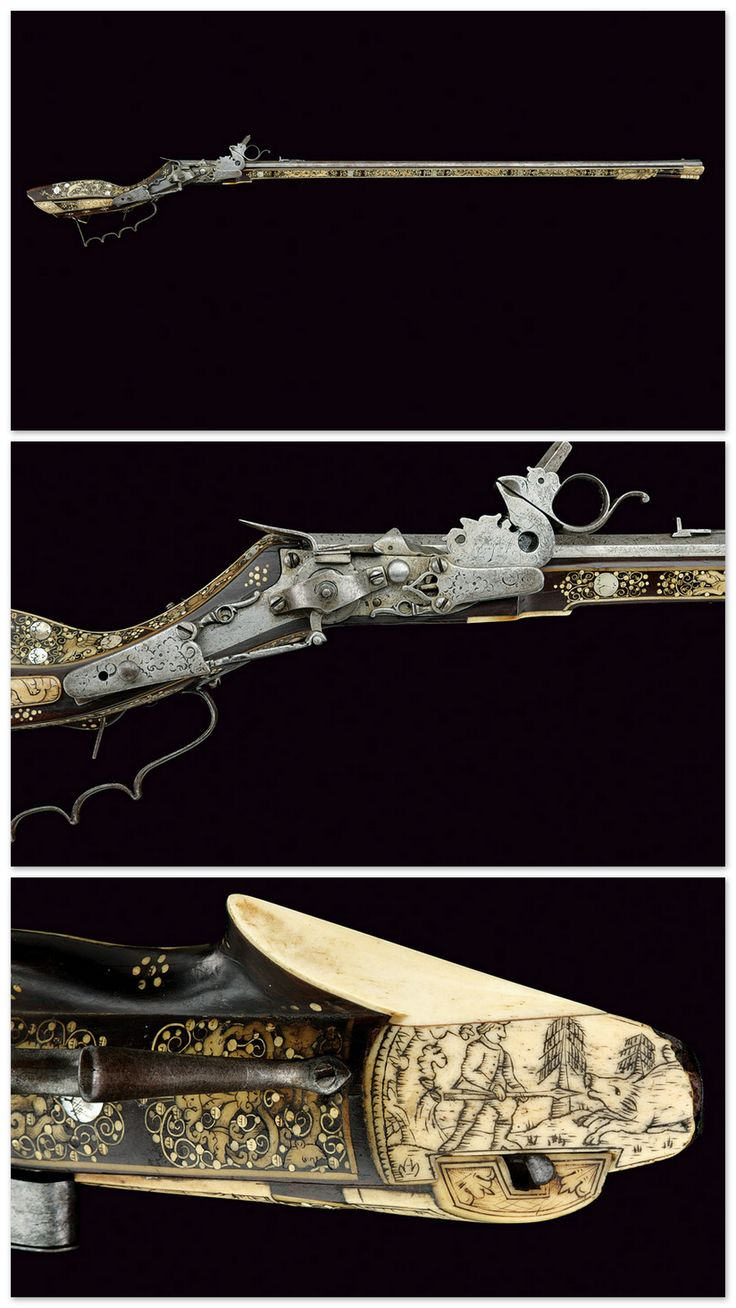 Ornate bone inlaid wheellock tschinke originating from Teschen, Germany, 17th century.
