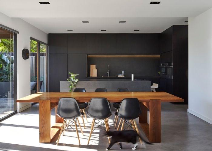 ▷ 1001 + exemples sublimes de la cuisine noire et bois Salons - modele de salle a manger design