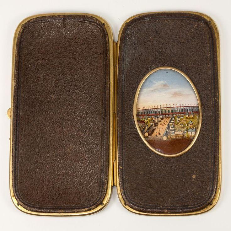 Antique French Souvenir Eglomise & Leather Cigar or Spectacles Case, Etui, RARE View 1889 Paris Expo
