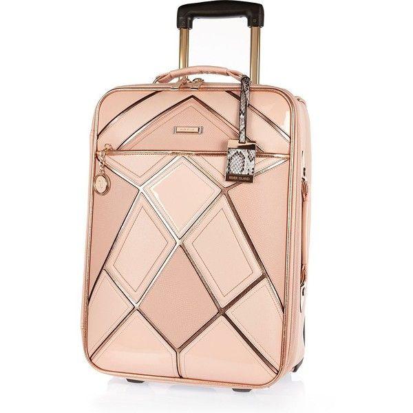 River Island Pink patchwork suitcase (£94) ❤ liked on Polyvore featuring bags, luggage, bags / purses, make up bags / luggage, pink and women